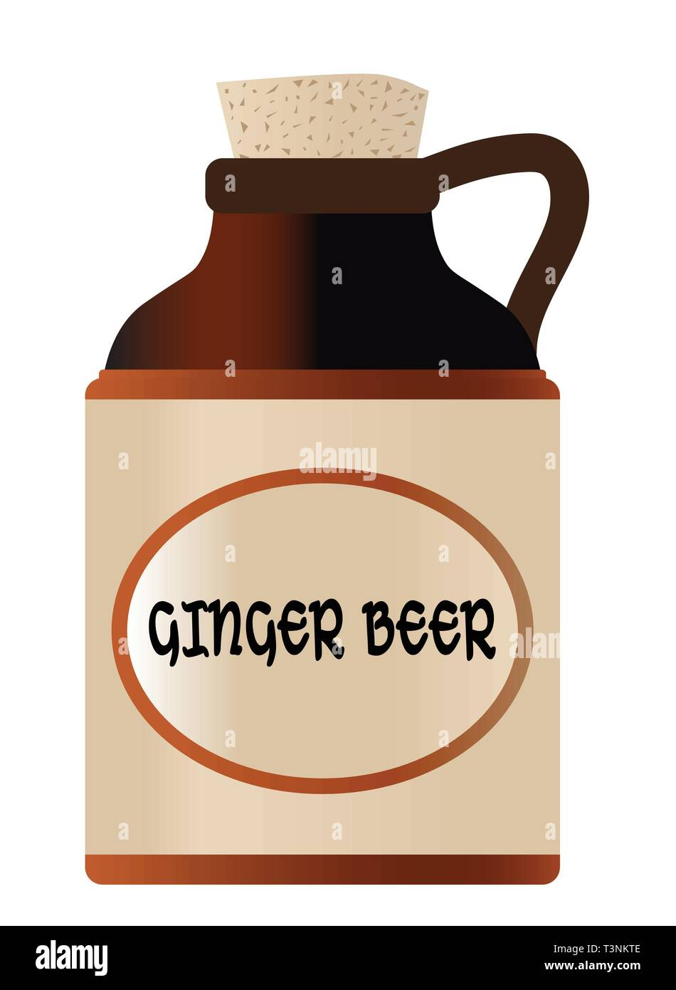 Isolated ginger beer bottle with cork and the legend moonshine - Stock Image