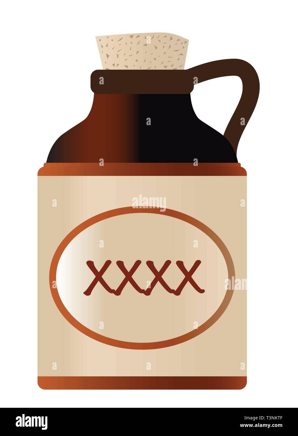 Isolated xxxx beer bottle with cork and the legend moonshine - Stock Image