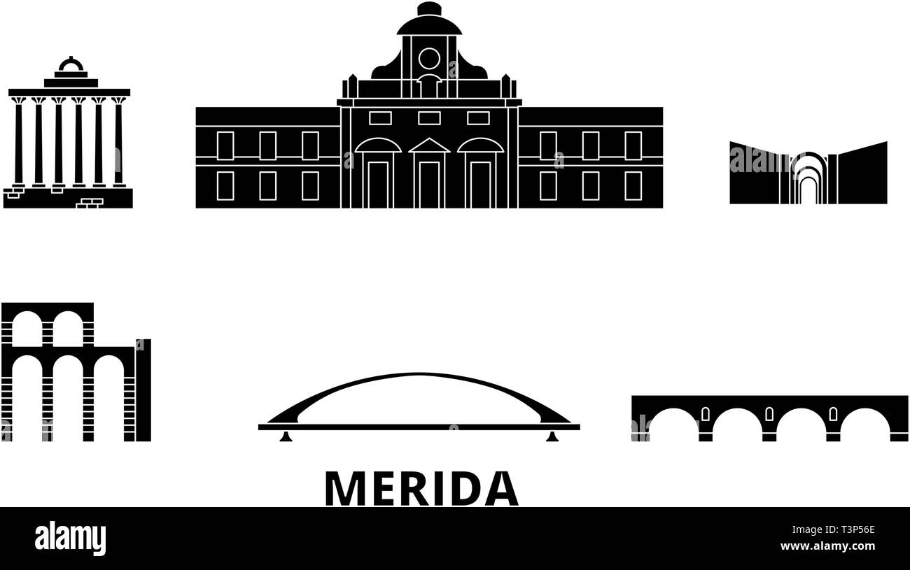 Spain, Merida flat travel skyline set. Spain, Merida black city vector illustration, symbol, travel sights, landmarks. Stock Vector