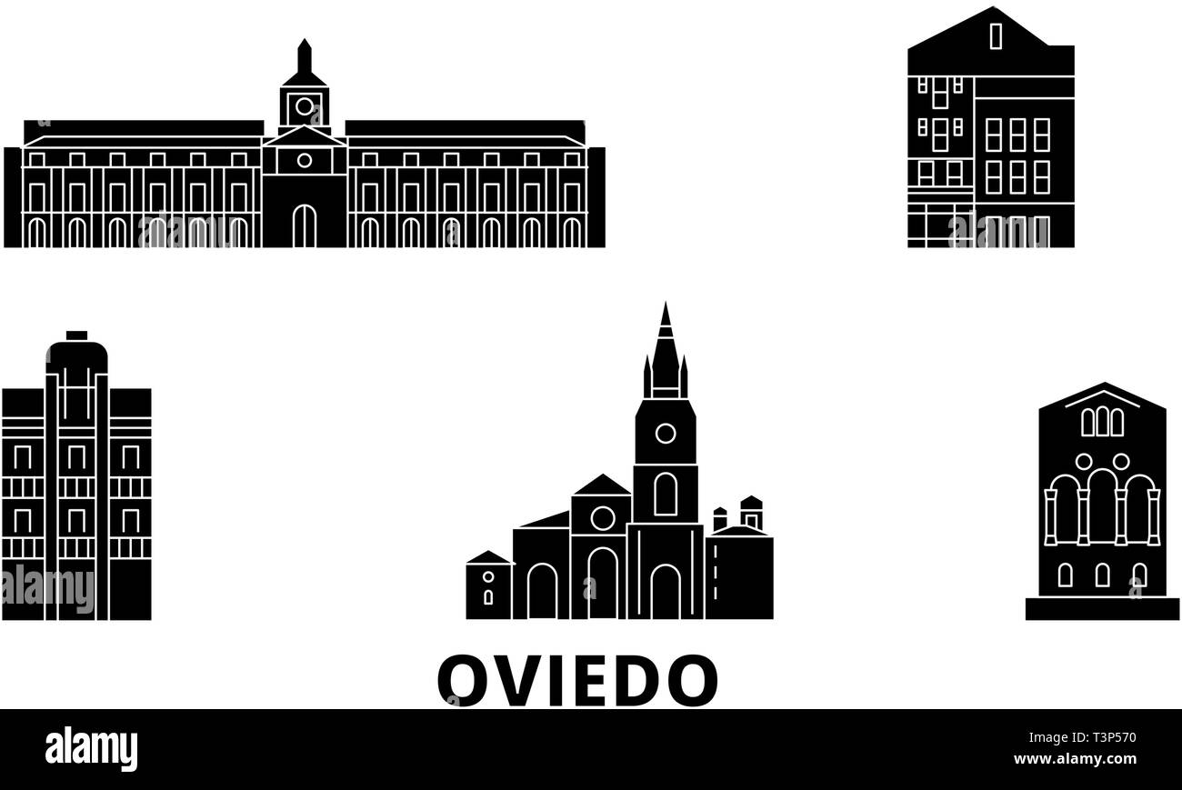 Spain, Oviedo flat travel skyline set. Spain, Oviedo black city vector illustration, symbol, travel sights, landmarks. - Stock Image