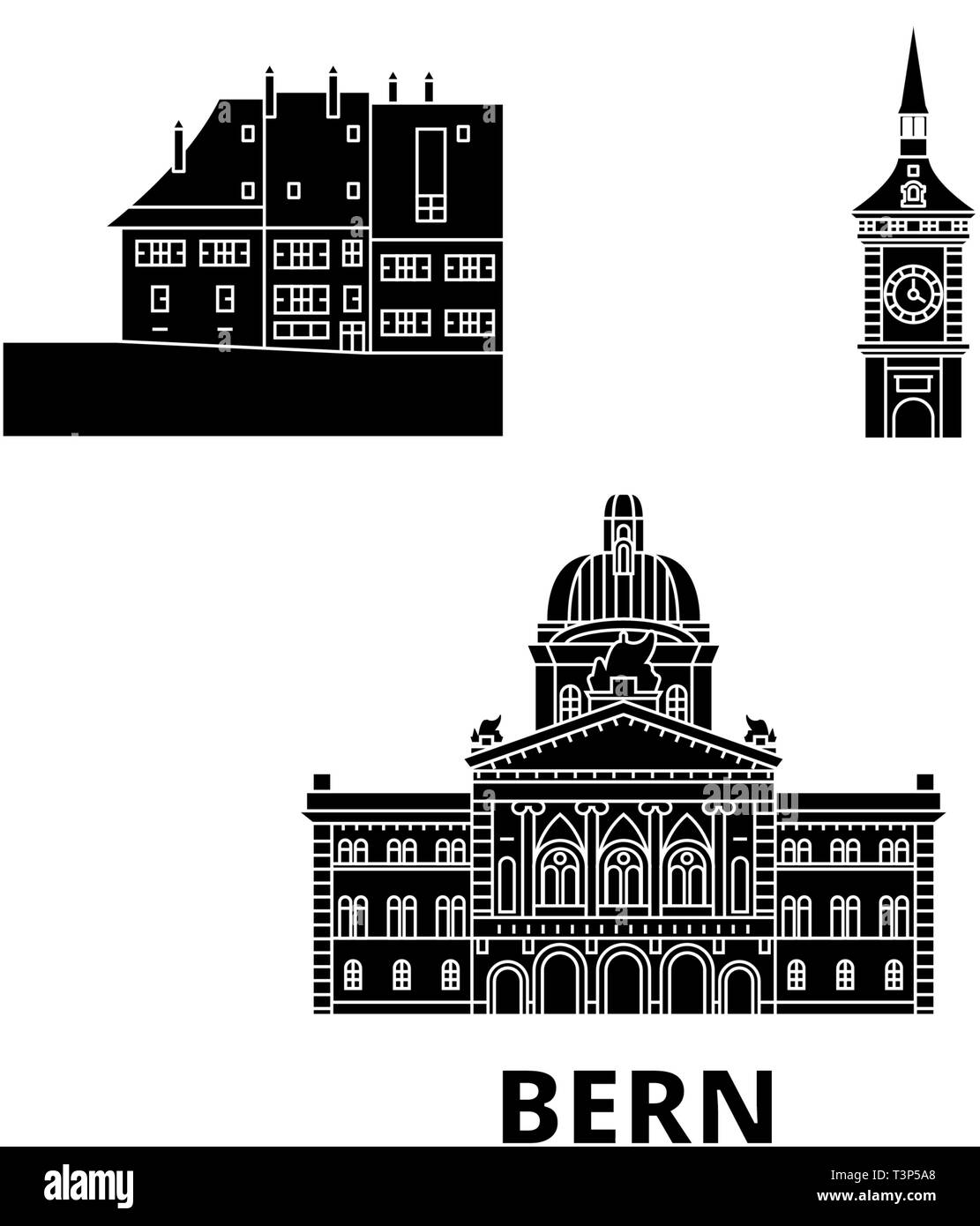Switzerland, Bern flat travel skyline set. Switzerland, Bern black city vector illustration, symbol, travel sights, landmarks. - Stock Image