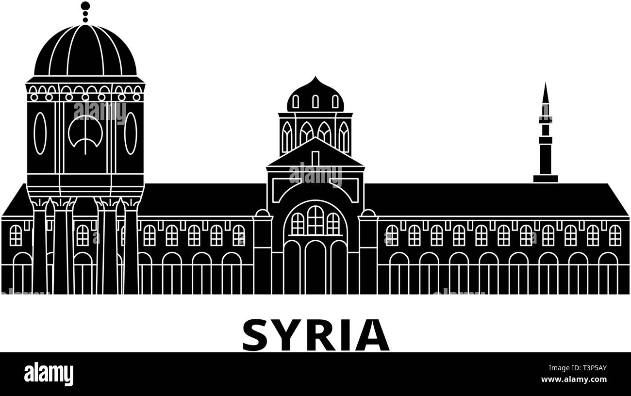 Syria flat travel skyline set. Syria black city vector illustration, symbol, travel sights, landmarks. - Stock Vector