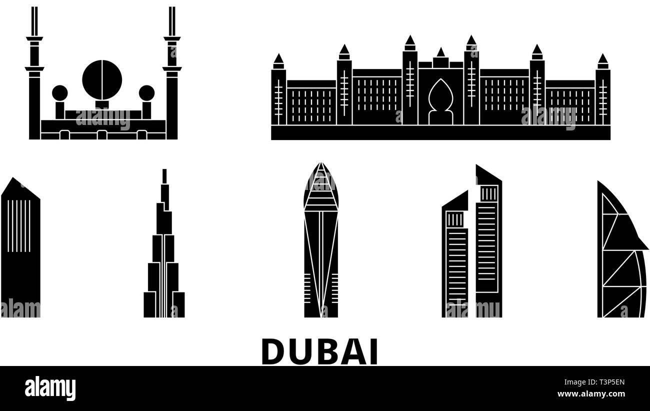 United Arab Emirates, Dubai City flat travel skyline set. United Arab Emirates, Dubai City black city vector illustration, symbol, travel sights Stock Vector