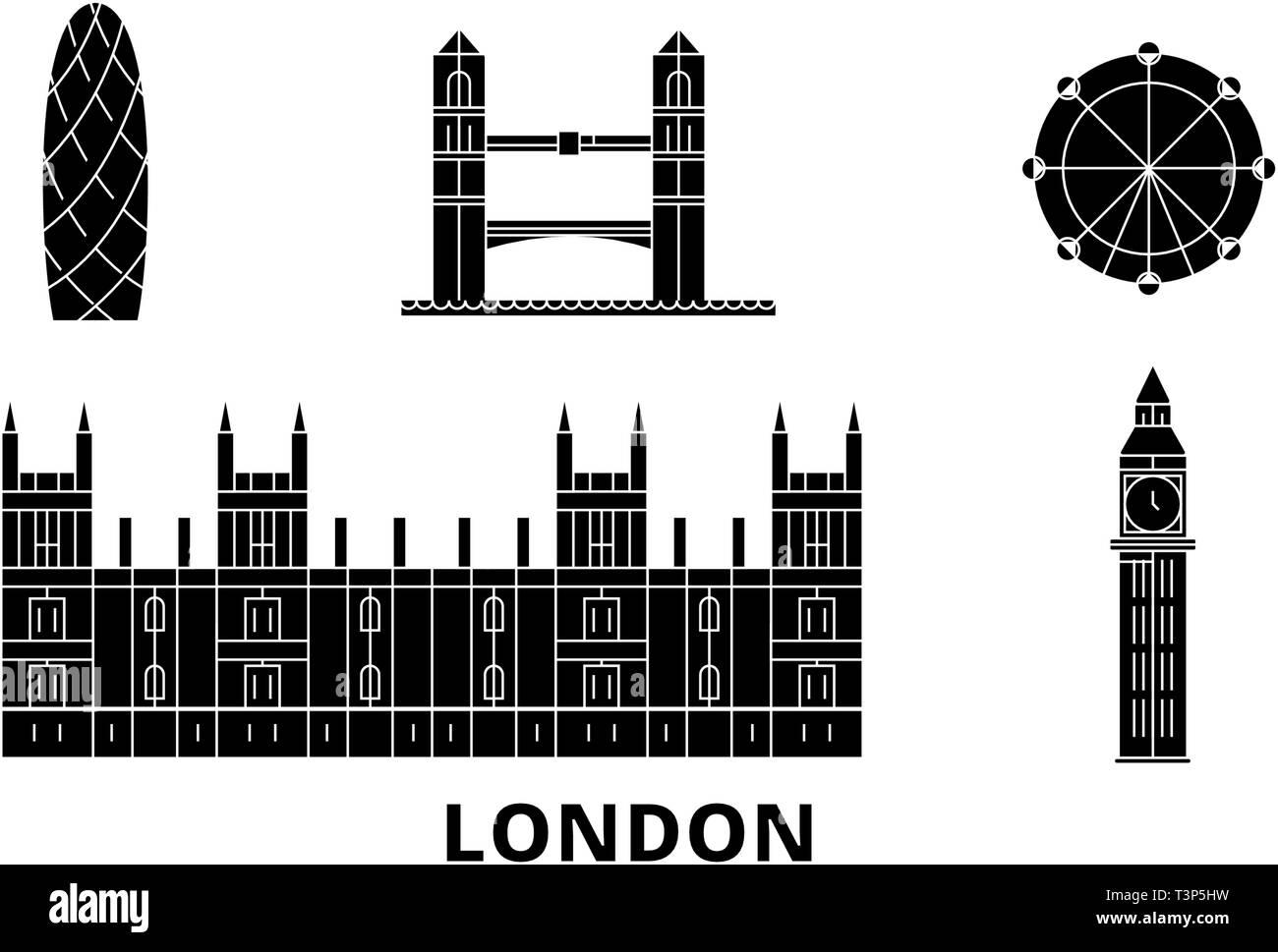 United Kingdom, London City flat travel skyline set. United Kingdom, London City black city vector illustration, symbol, travel sights, landmarks. - Stock Image