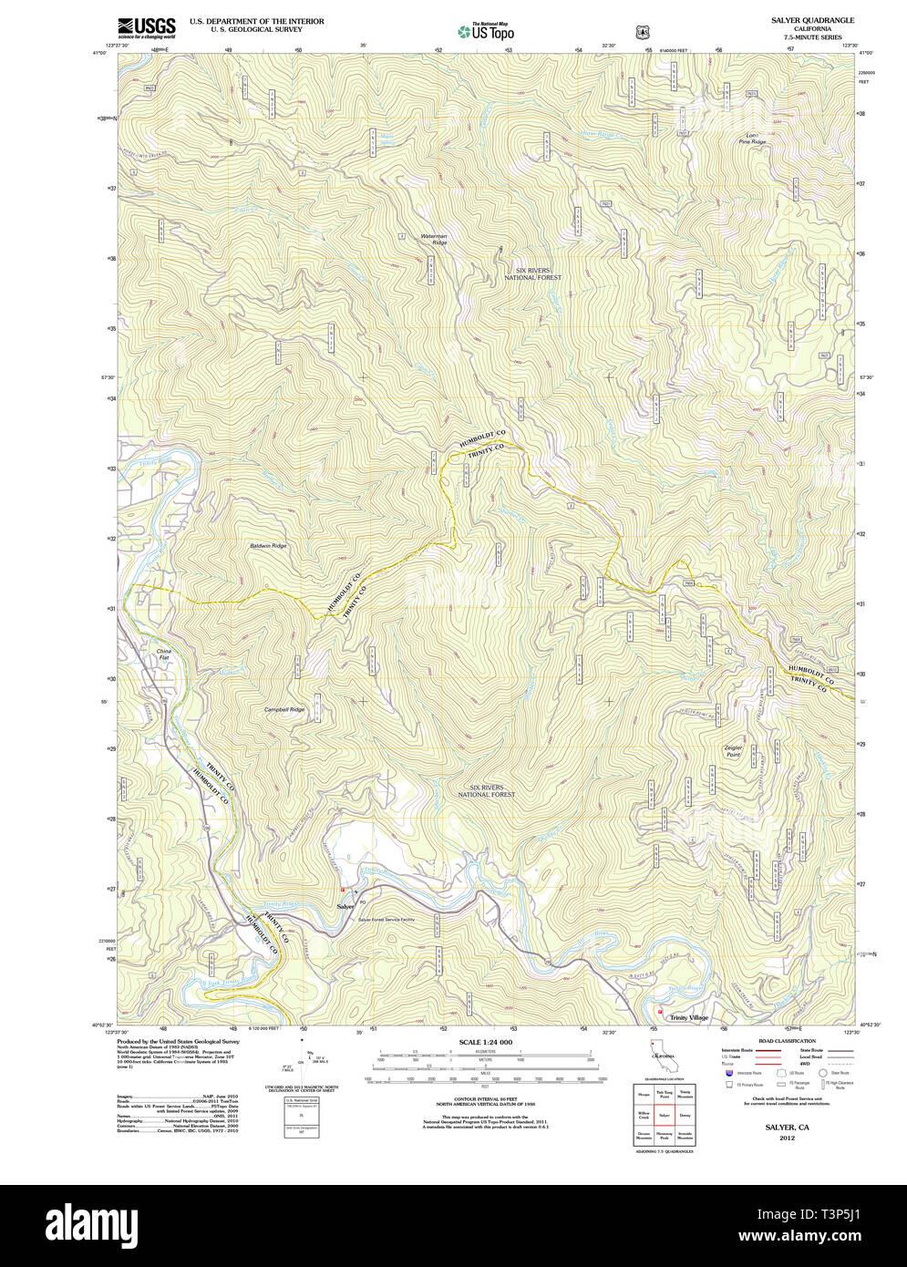USGS TOPO Map California CA Salyer 20120215 TM Restoration - Stock Image