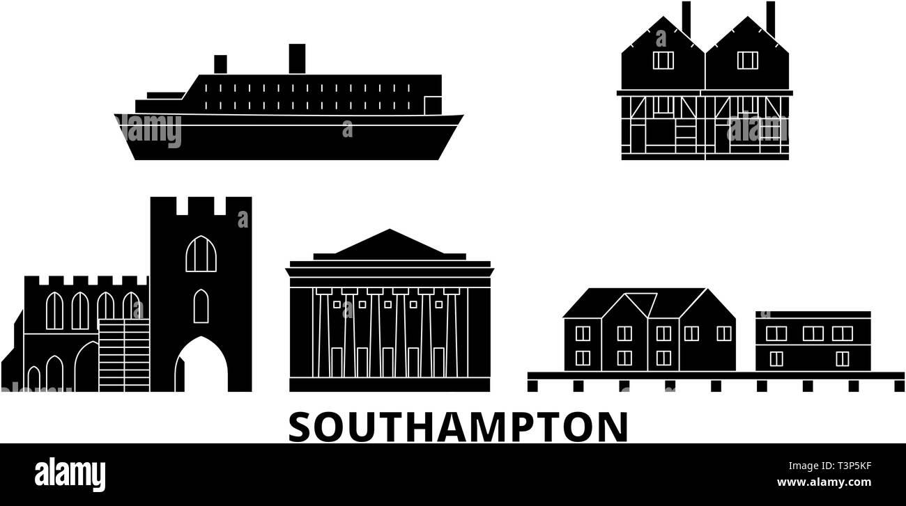 United Kingdom, Southampton flat travel skyline set. United Kingdom, Southampton black city vector illustration, symbol, travel sights, landmarks. - Stock Image