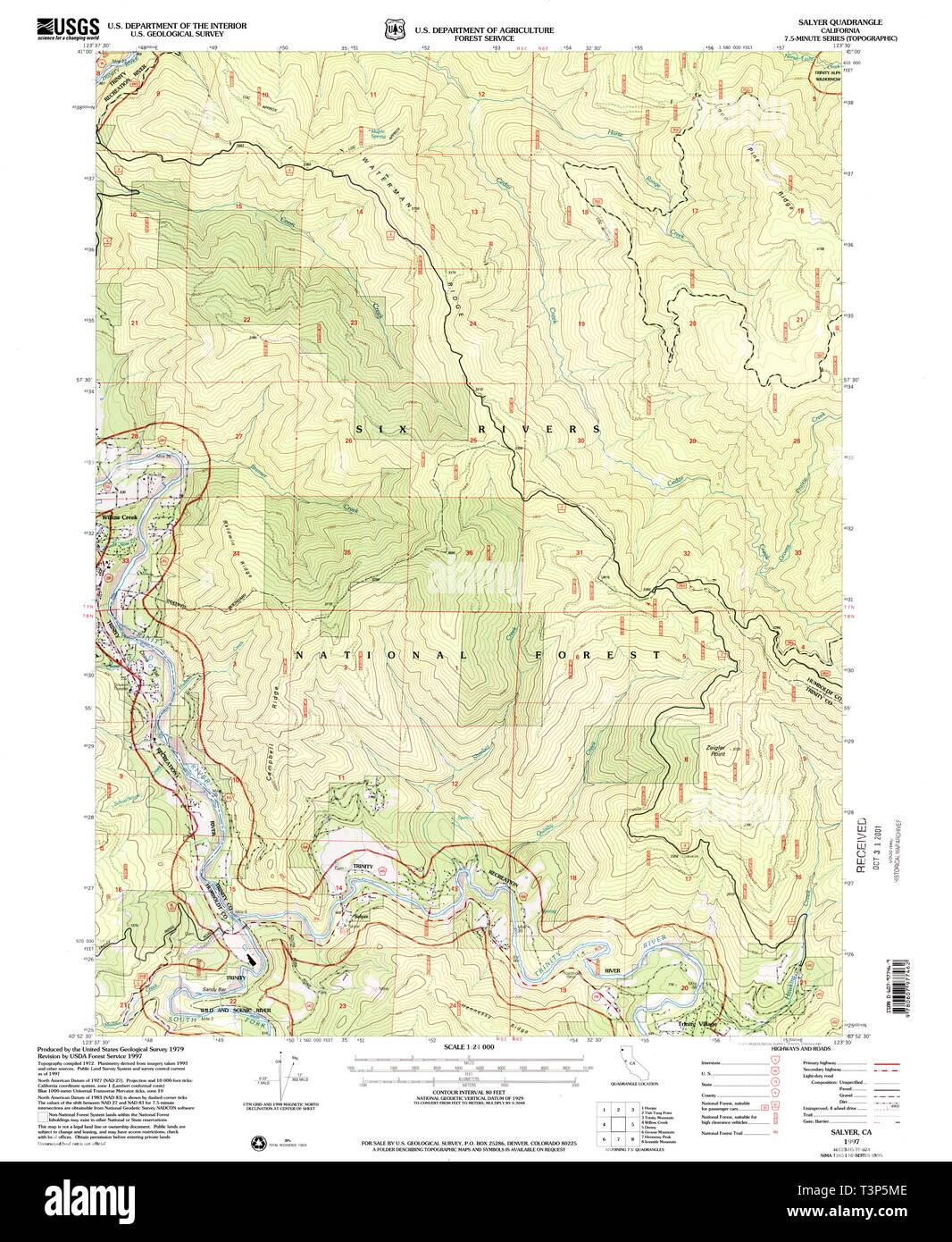 USGS TOPO Map California CA Salyer 294933 1997 24000 Restoration - Stock Image