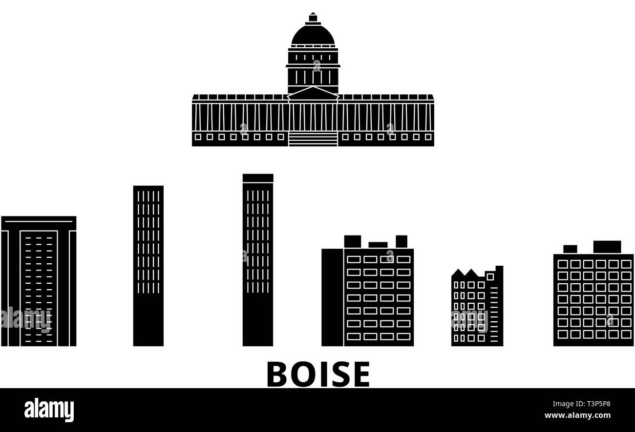 United States, Boise flat travel skyline set. United States, Boise black city vector illustration, symbol, travel sights, landmarks. - Stock Vector
