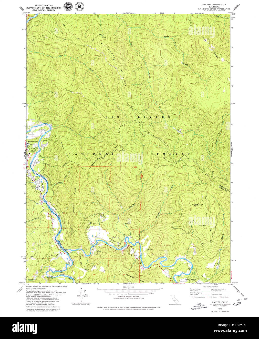 USGS TOPO Map California CA Salyer 294934 1979 24000 Restoration - Stock Image