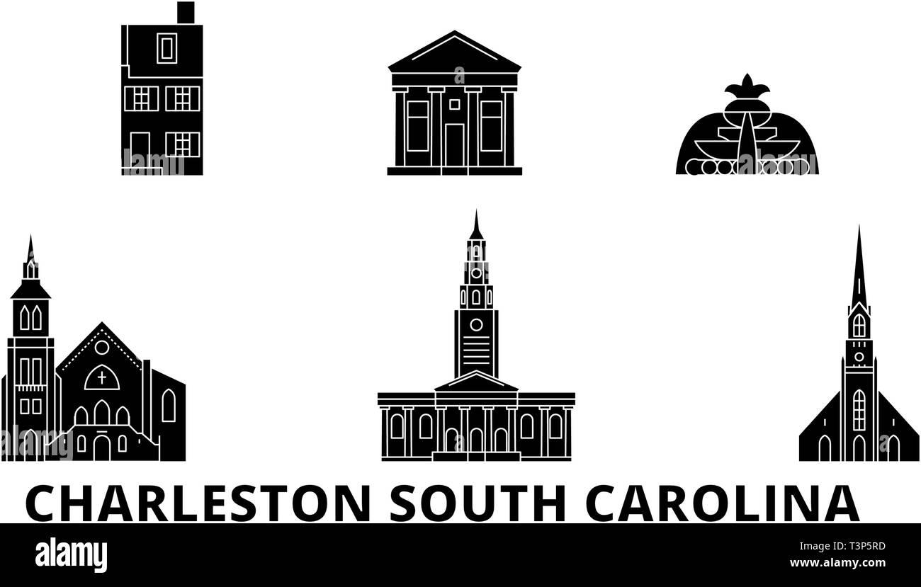 United States, Charleston South Carolina flat travel skyline set. United States, Charleston South Carolina black city vector illustration, symbol - Stock Vector