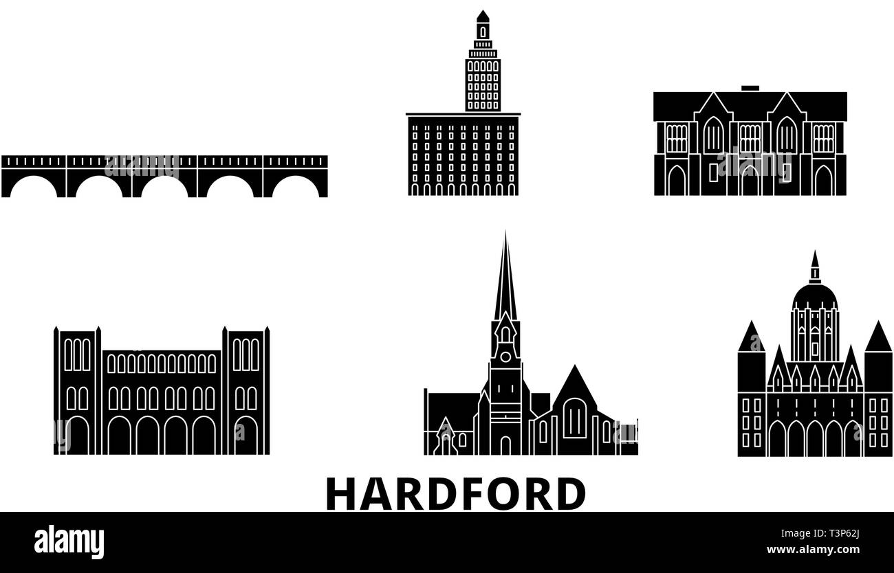 United States, Hartford flat travel skyline set. United States, Hartford black city vector illustration, symbol, travel sights, landmarks. - Stock Vector
