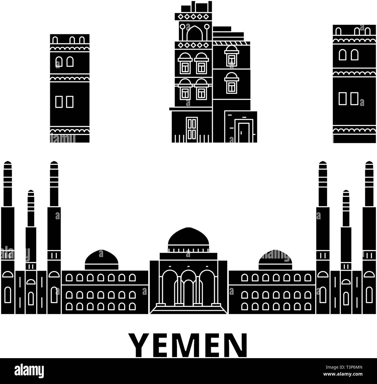 Yemen, Sanaa flat travel skyline set. Yemen, Sanaa black city vector illustration, symbol, travel sights, landmarks. - Stock Image