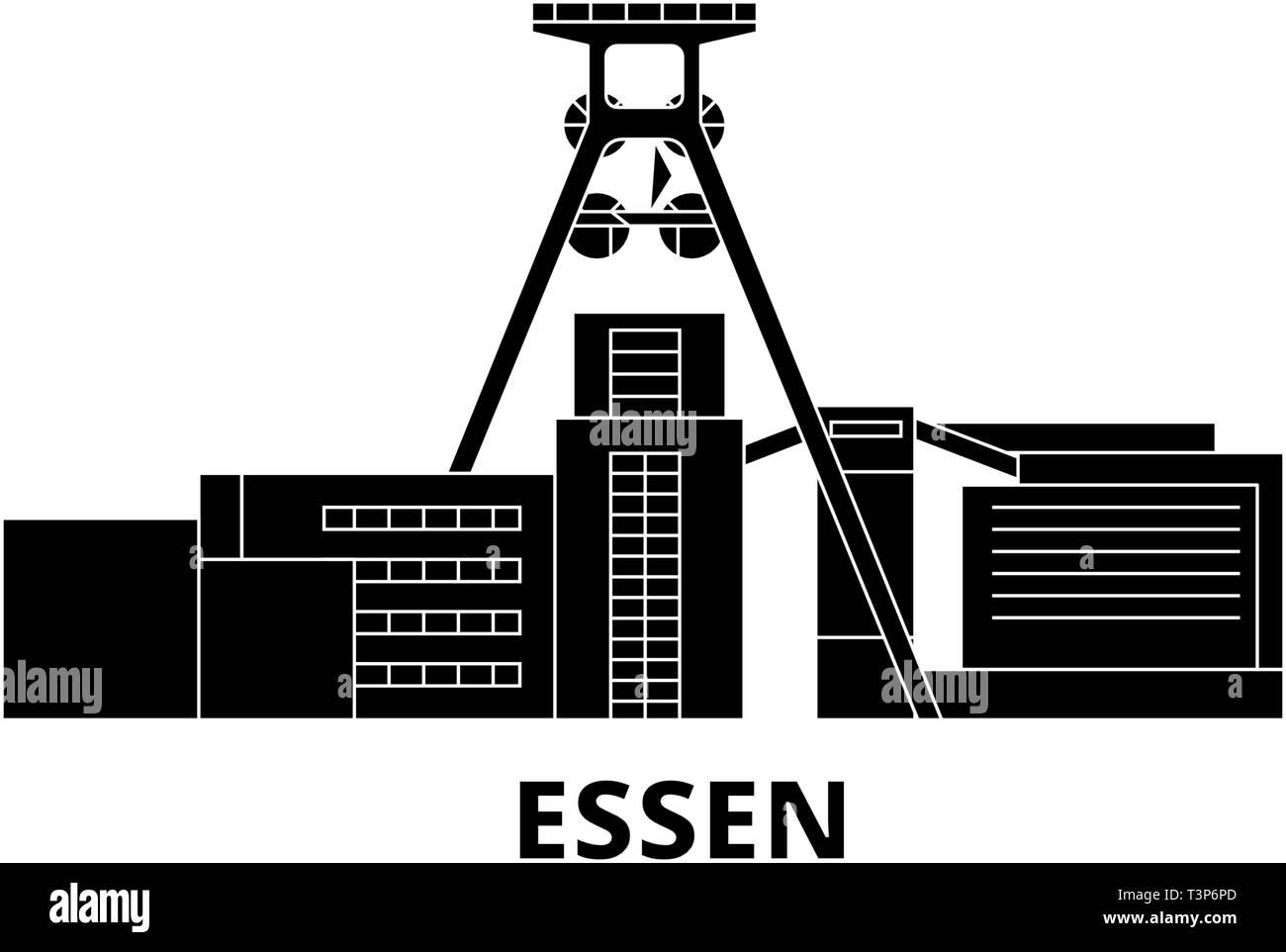 Germany, Essen, Zollverein Coal Mine Industrial Complex flat travel skyline set. Germany, Essen, Zollverein Coal Mine Industrial Complex black city - Stock Vector