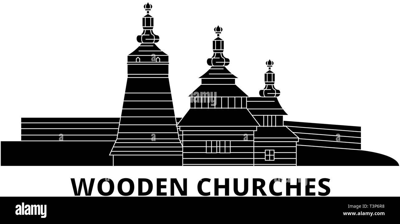 Poland, Wooden Churches In The Carpathian Mountain Area flat travel skyline set. Poland, Wooden Churches In The Carpathian Mountain Area black city Stock Vector