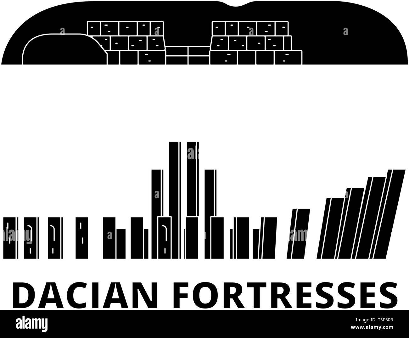 Romania, Dacian Fortresses, Orastie Mountains flat travel skyline set. Romania, Dacian Fortresses, Orastie Mountains black city vector illustration Stock Vector