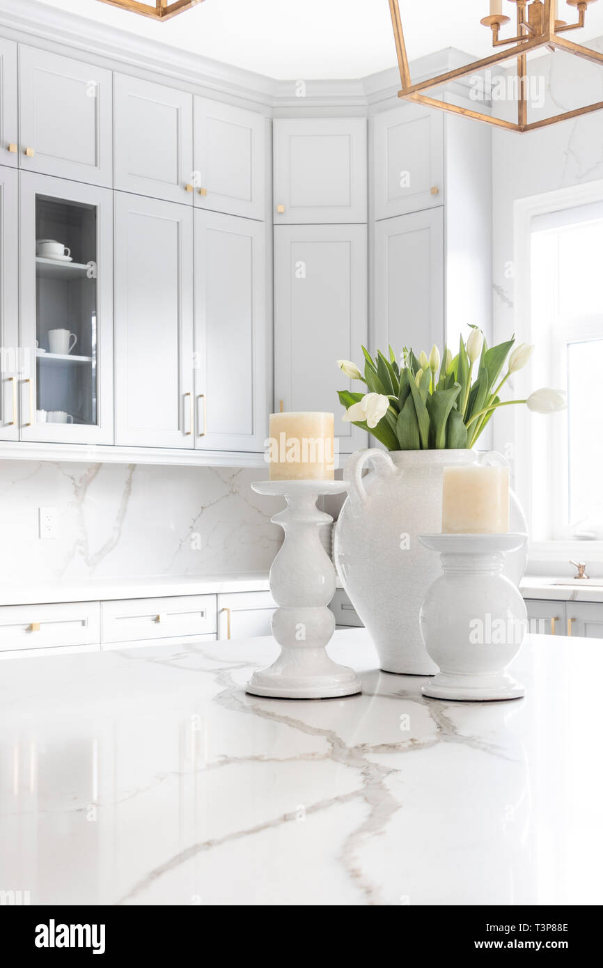 - Elegant Table Decoration Of A Luxurious Custom Kitchen, With