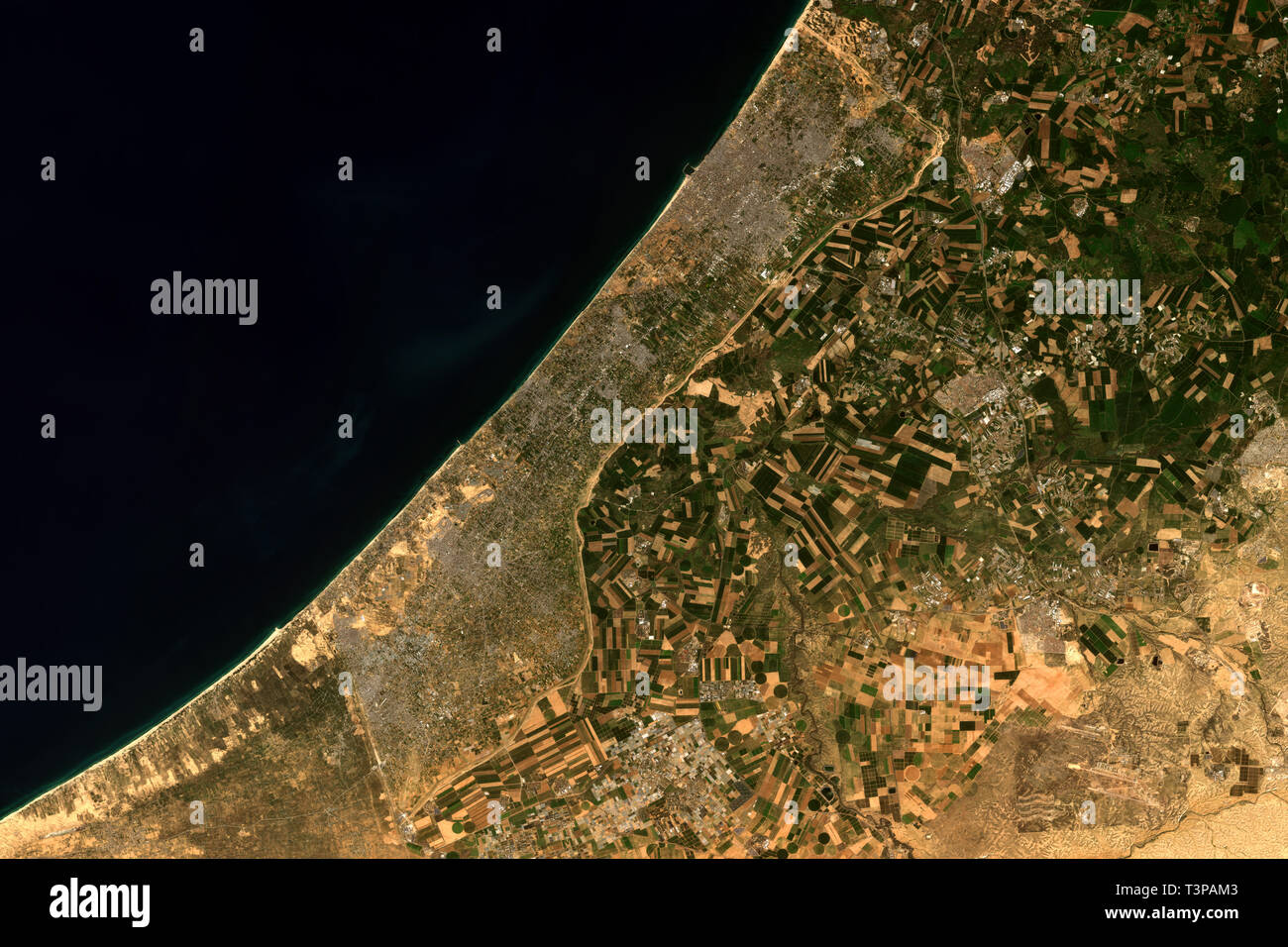 The Gaza Strip, a self-governing Palestinian territory seen from space - contains modified Copernicus Sentinel Data (2019) Stock Photo