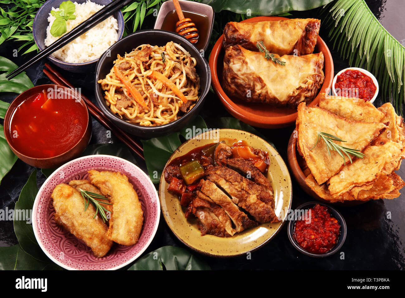 Assorted Chinese Food Set Chinese Noodles Fried Rice Peking Duck Dim Sum Spring Rolls Famous Chinese Cuisine Dishes On Table Chinese Restaurant Stock Photo Alamy