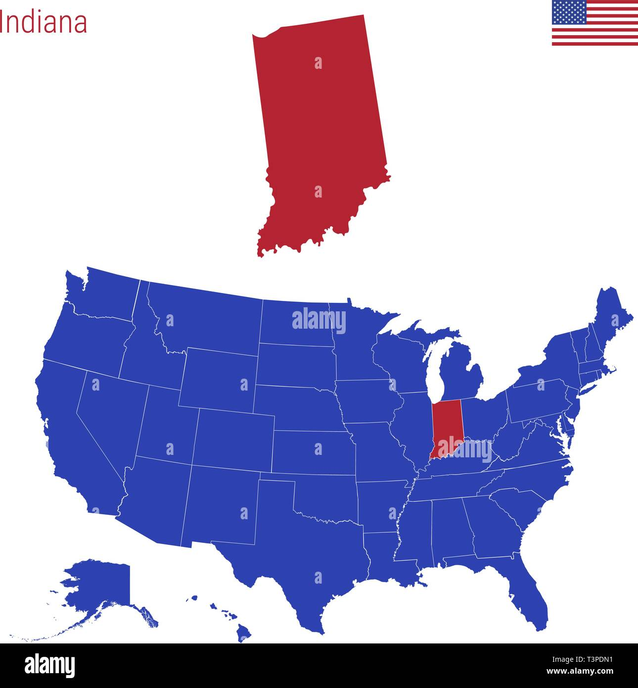 The State of Indiana is Highlighted in Red. Blue Vector Map ...