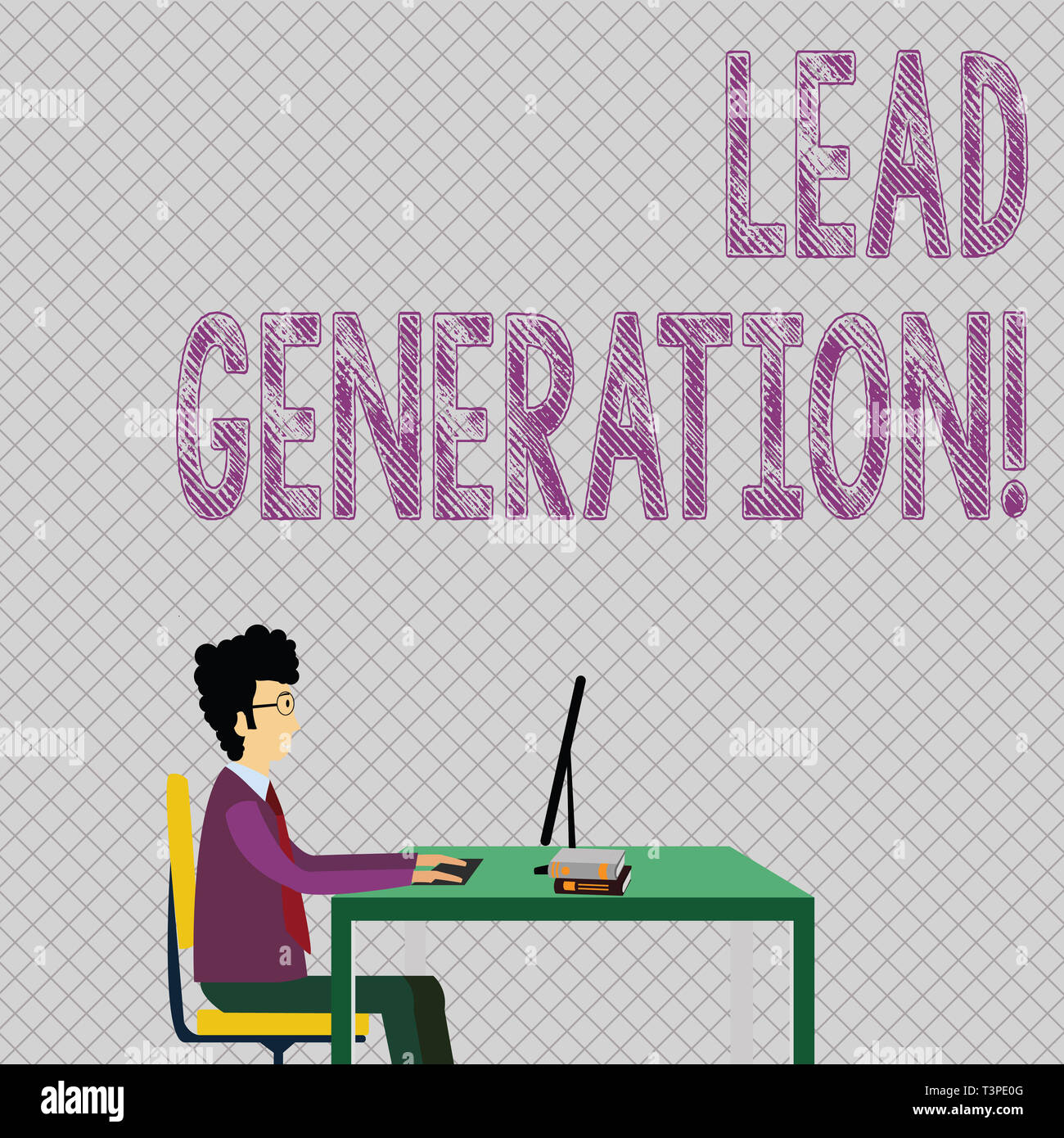 Conceptual hand writing showing Lead Generation. Concept meaning process identifying and cultivating potential customers Businessman Sitting on Chair  - Stock Image