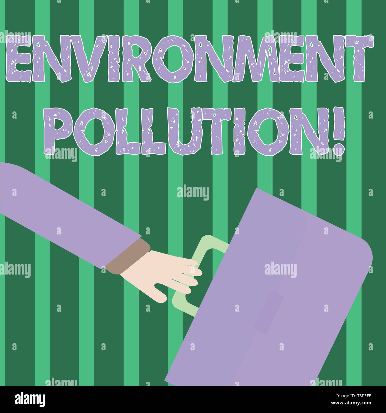 Handwriting text Environment Pollution. Conceptual photo The contaminants into the natural environment Rushing Businessman Arm Swayed Farther Back and - Stock Image