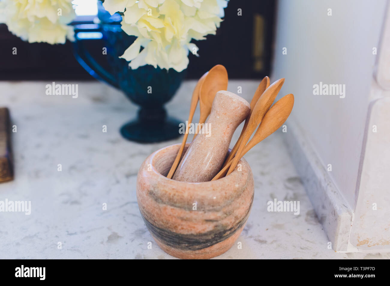 Wooden rustic and vintage crockery, tableware, utensils and stuff on wooden table-top. Kitchen still life as background for design. Image with copy Stock Photo