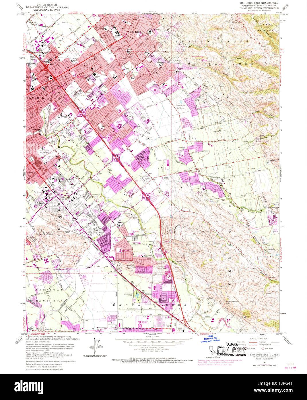 USGS TOPO Map California CA San Jose East 300102 1961 24000 ...