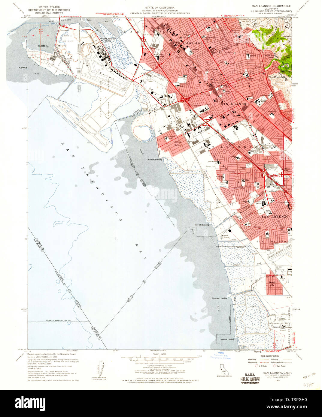 USGS TOPO Map California CA San Leandro 300124 1959 24000