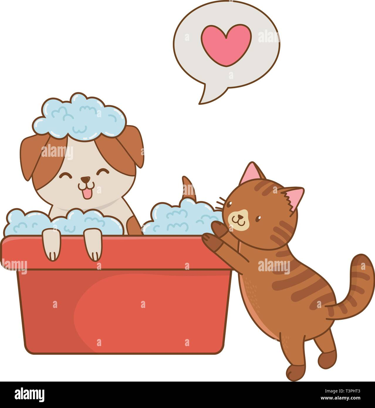 Cute Funny Pets Dog And Cat Taking A Shower Cartoon Vector Illustration Graphic Design Stock Vector Image Art Alamy