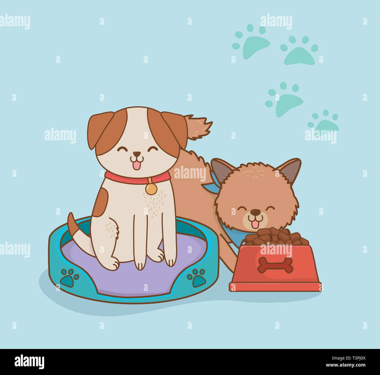 cute little dogs mascots characters vector illustration design - Stock Vector