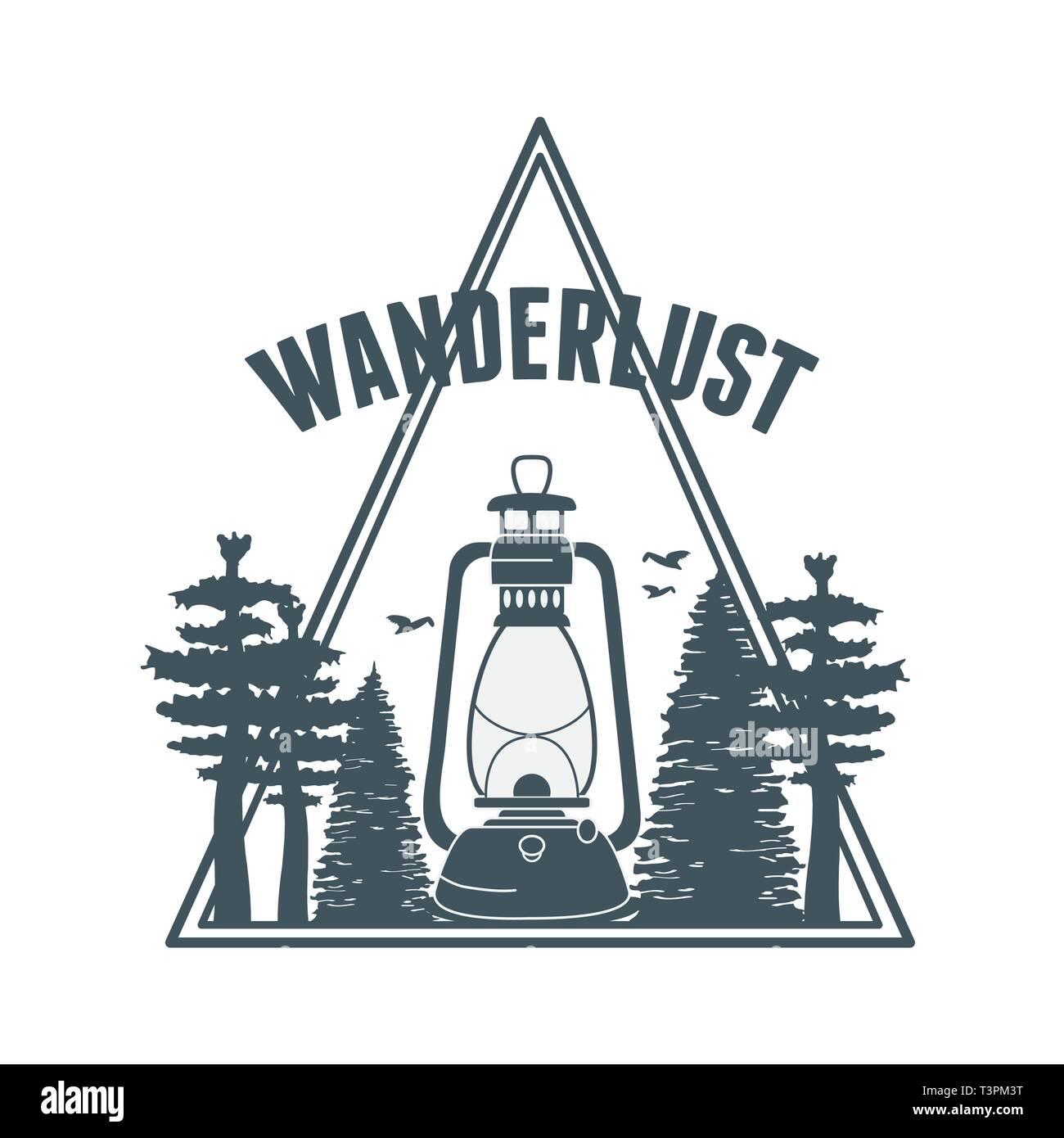 wanderlust label with forest scene and kerosene lamp vector illustration design - Stock Vector