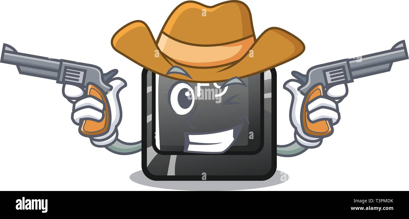 Cowboy button f9 isolated in the mascot - Stock Image