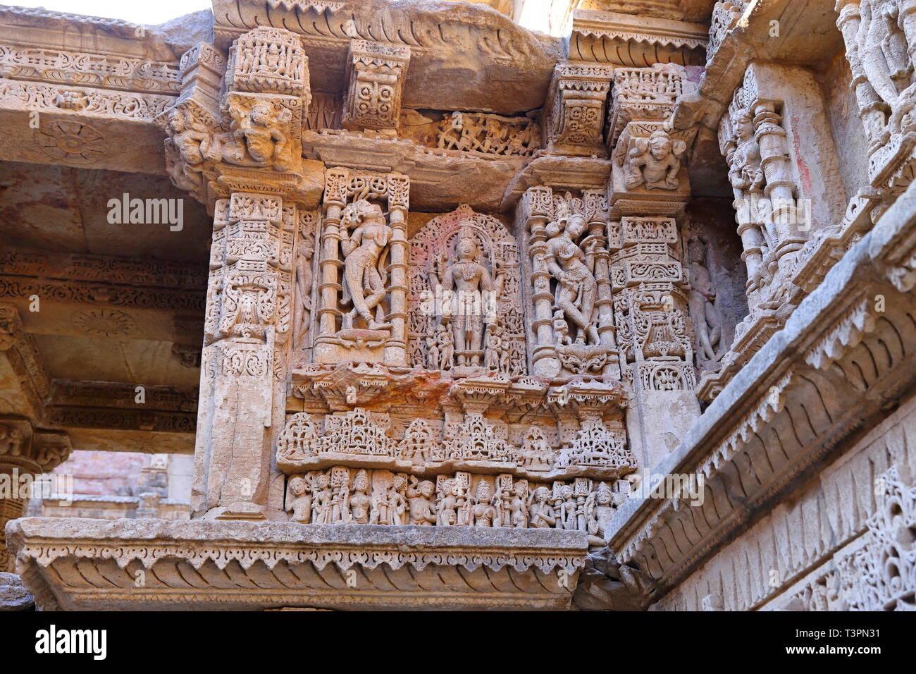 Rani ki vav, an stepwell on the banks of Saraswati River in Patan. A UNESCO world heritage site in Gujarat, India - Stock Image