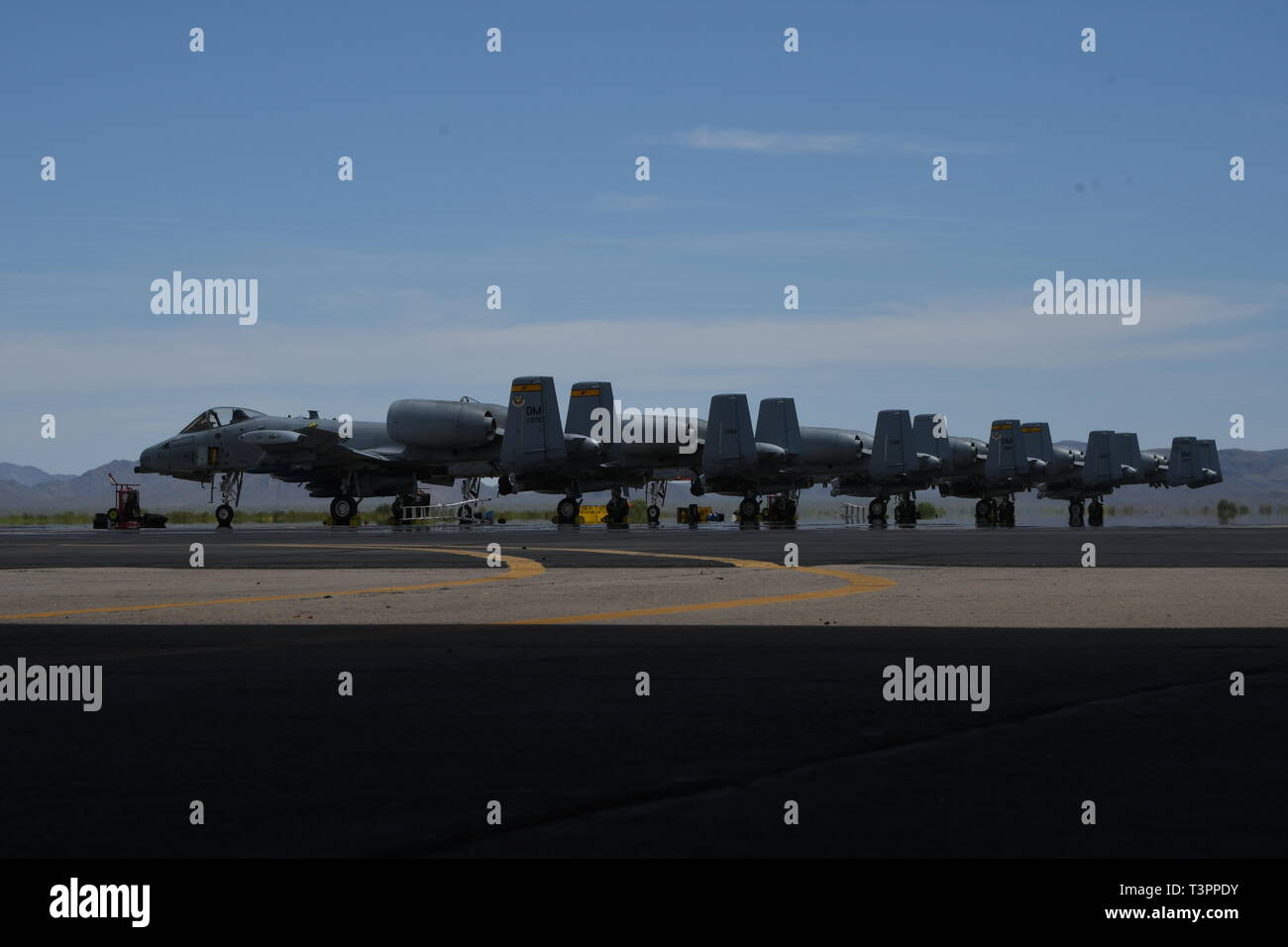 U.S. Air Force A-10 Thunderbolt II sits on the flightline at Gila Bend Air Force Auxillary Field, Ariz., April 9, 2019. Davis-Monthan Air Force Base underwent a large-scale exercise to prepare to deploy to any austere and contested location around the world. Using the multi-functional Airmen to establish, sustain and defend the base with organic command and control. (U.S. Air Force photo by Senior Airman Cheyenne A. Powers) - Stock Image