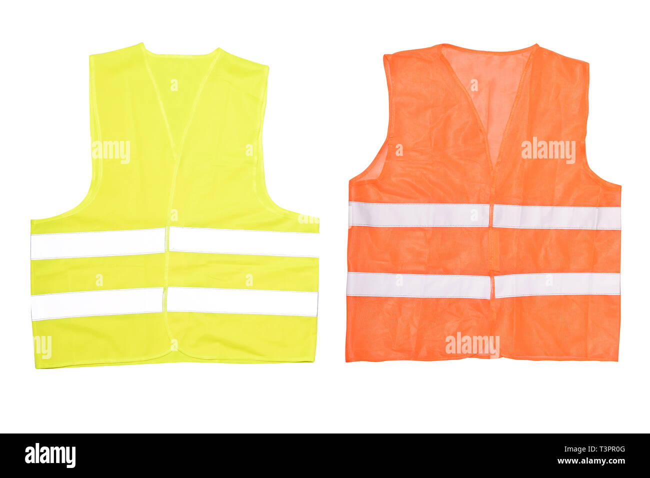 Safety orange vest isolated on a white background. Road vest for safe work.  Safety clothing with reflective stripes. Front side. - Stock Image