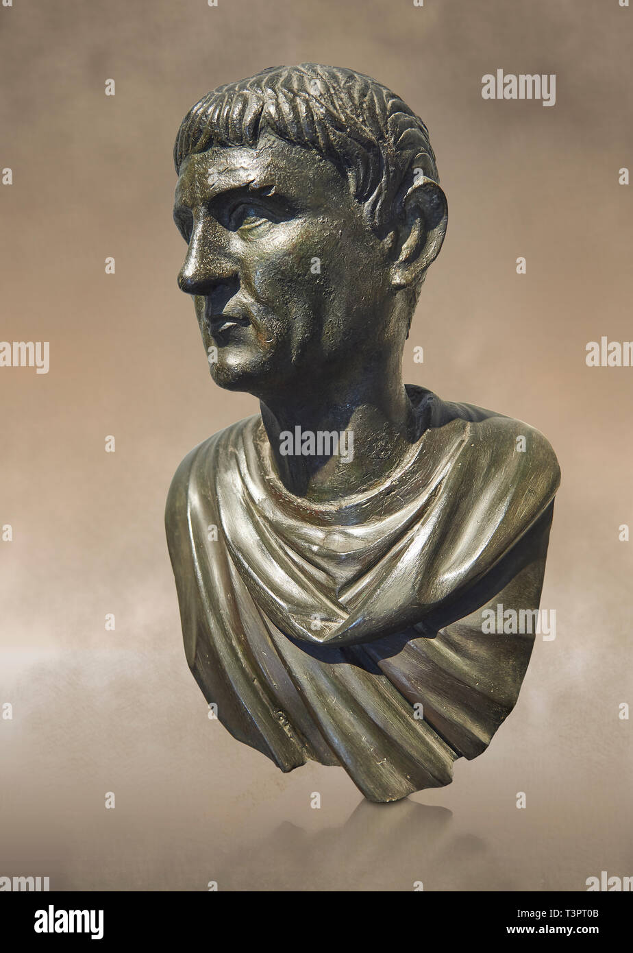 Full view of Roman Bronze sculpture bust known as 'Sylla' from the tablinium of the Villa of the Papyri in Herculaneum, Museum of Archaeology, Italy - Stock Image
