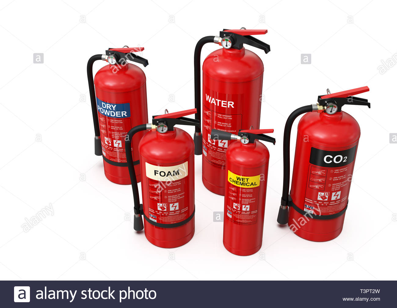 Group of ten different types of red fire extinguishers (CO2, foam, dry powder, wet chemical, water); clean, minimalist and clear composition - Stock Image