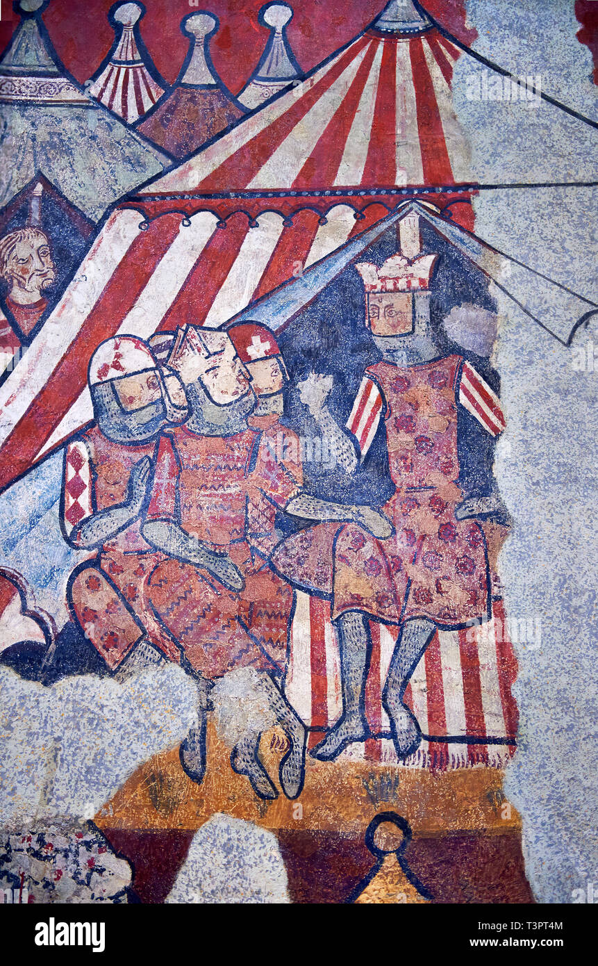 Gothic fresco mural painting 'THE CONQUEST OF MAJORCA' 1285-1290. National Museum of Catalan Art, Barcelona, Spain, inv no: 071447-CJT.  The mural pai - Stock Image