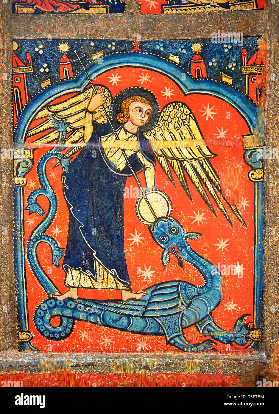 Gothic altar panel depicting St Michael sleighing the dragon. End of the 13th century, tempera on a spruce wooden panel  from  The Church of Sant Migu - Stock Image