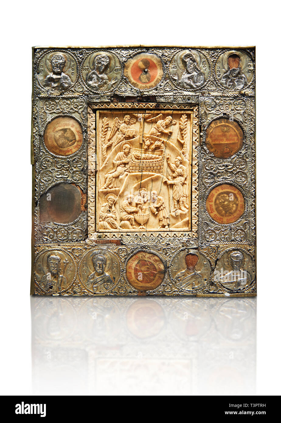 Medieval Christian relief Icon depicting scenes from the Nativity, A central ivory panel surrounded by beaten silver border. From Constantinople, 11th - Stock Image