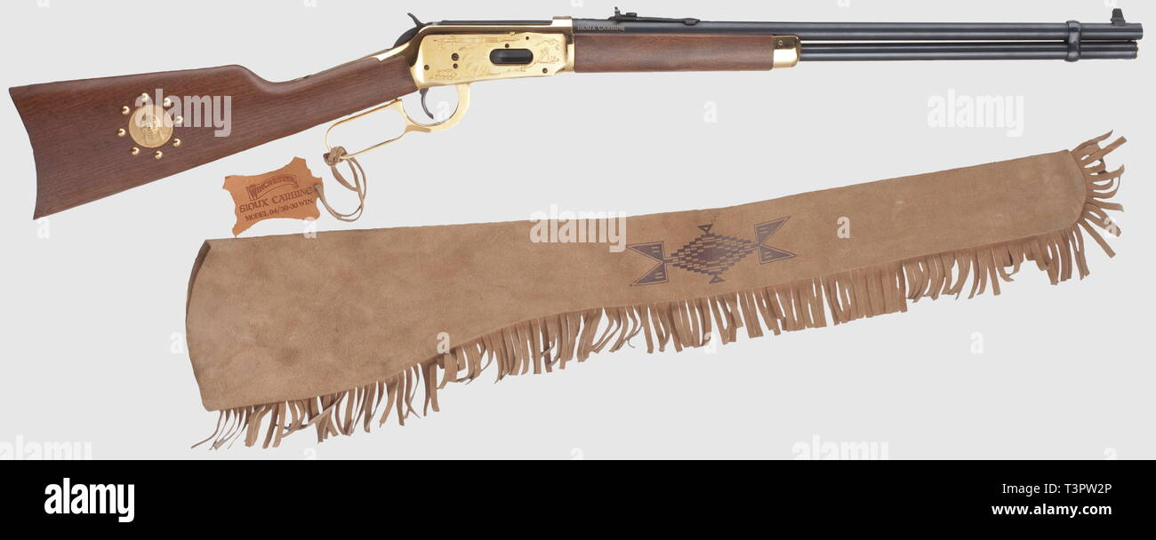 Civil long arms, modern systems, Winchester M 94 Sioux carbine, vergoldet, calibre 30-30 Winchester, number SU09562, Additional-Rights-Clearance-Info-Not-Available - Stock Image