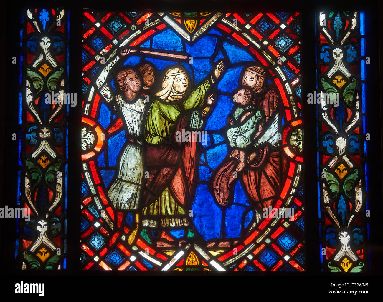 Stained glass windows depicting scenes from the life of Saint Blaise, made in the first quarter of the 13th century from  Soissons, France .  Inv OAR  Stock Photo