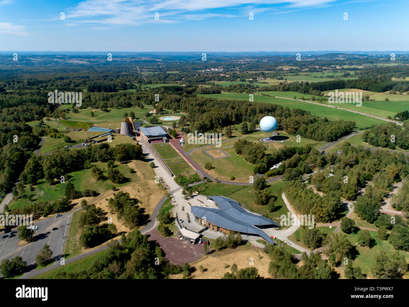 Aerial vie of Vulcania, the ' European Park of Volcanism', in Saint-Ours-les-Roches (central France). Vulcania is an educational Amusement park and mu - Stock Image