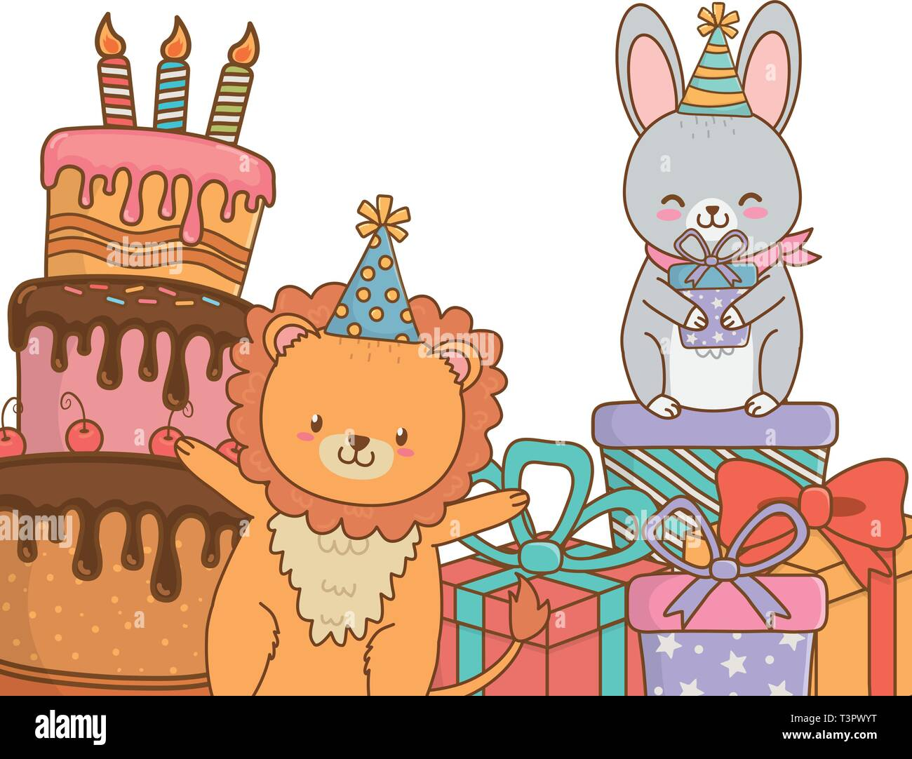 Sensational Cute Little Animals At Birthday Party Festive Scene Cartoon Vector Funny Birthday Cards Online Alyptdamsfinfo