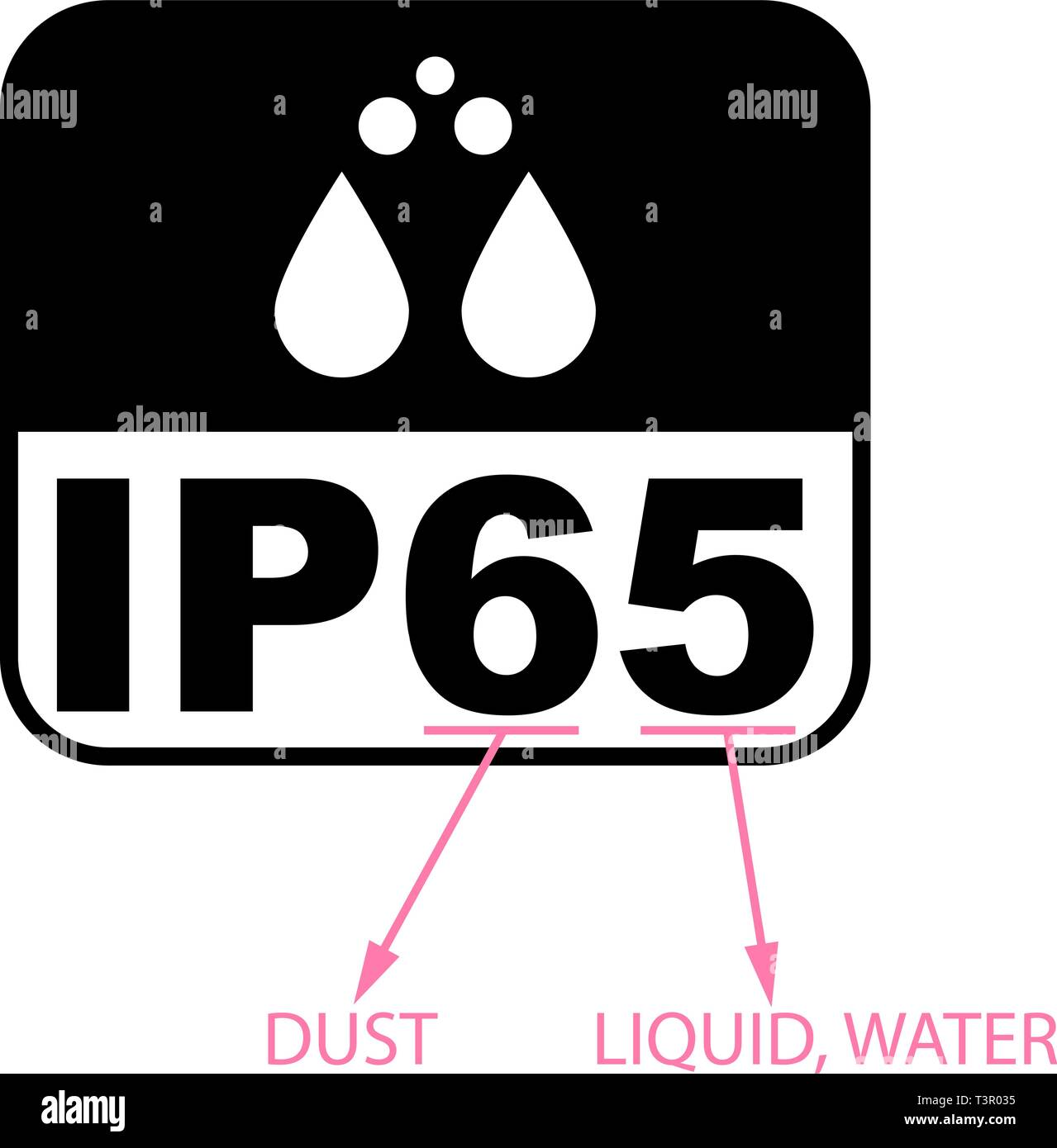 IP65 protection certificate standard icon. Water and dust or solids resistant protected symbol. Vector illustration. - Stock Image