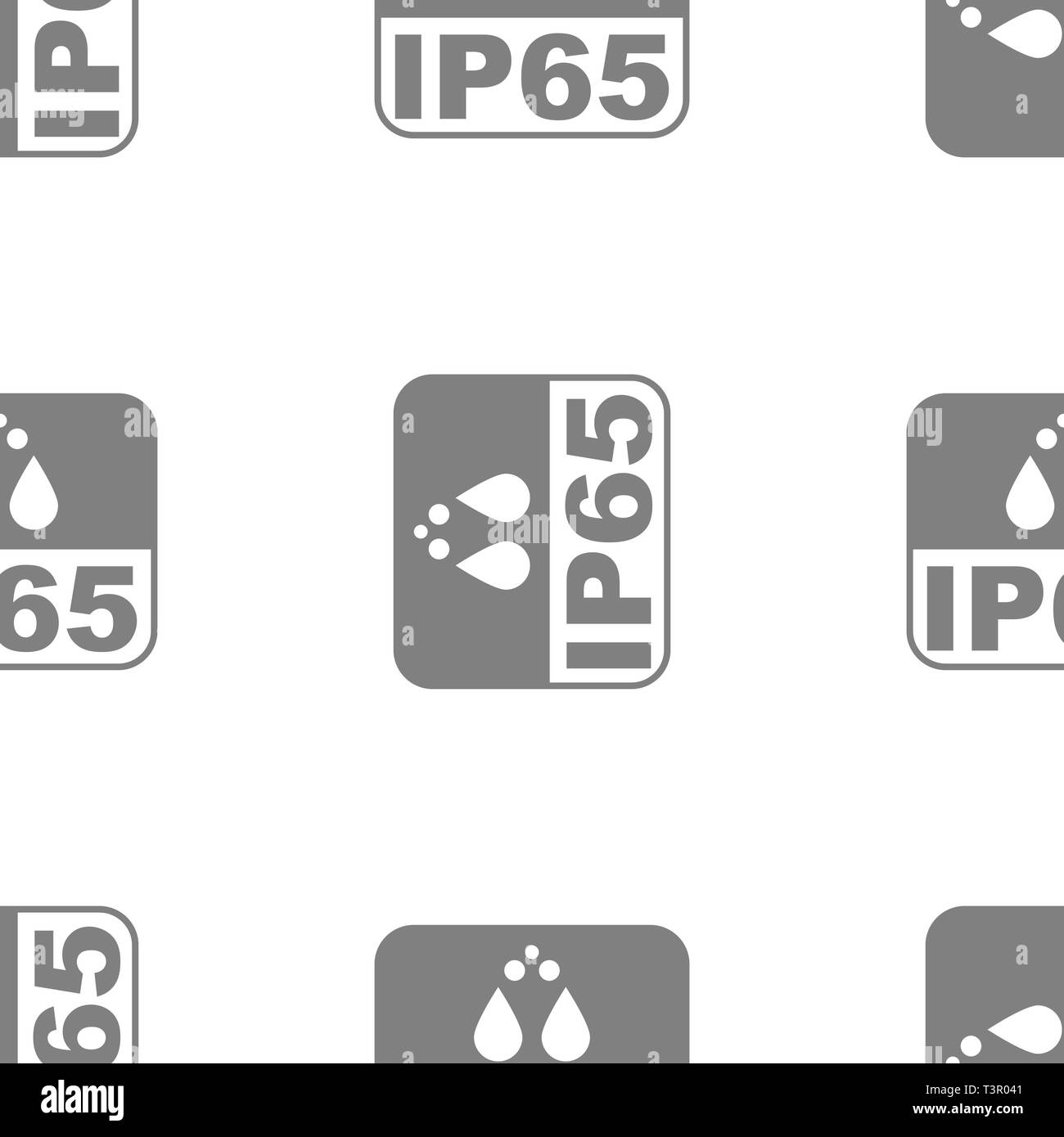 IP65 protection certificate standard icon seamless. Water and dust or solids resistant protected symbol. Vector illustration. - Stock Image