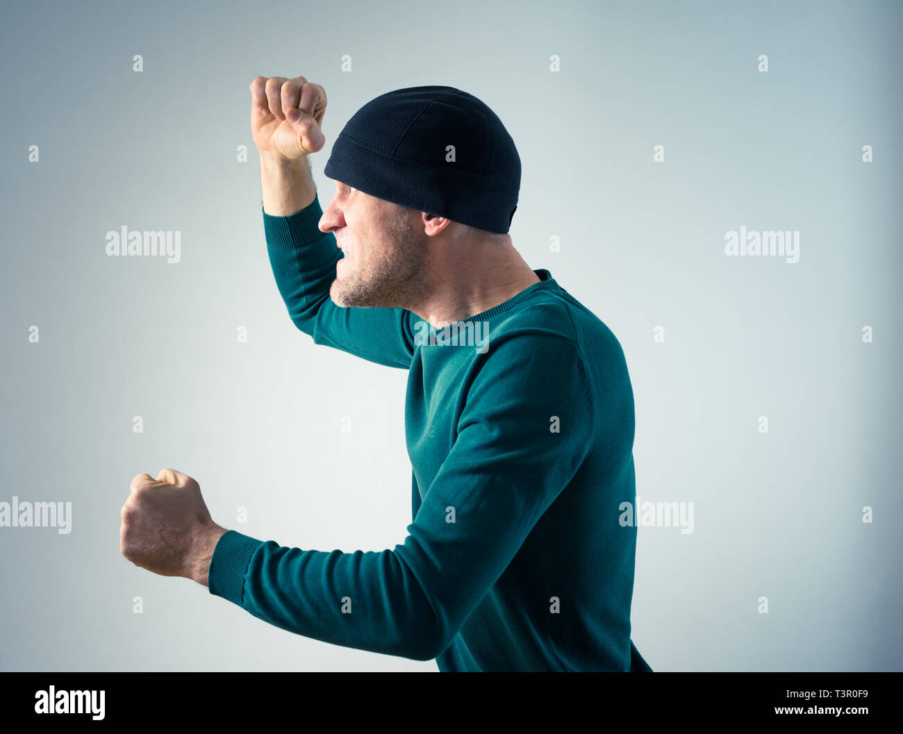 angry man acting mad - Stock Image