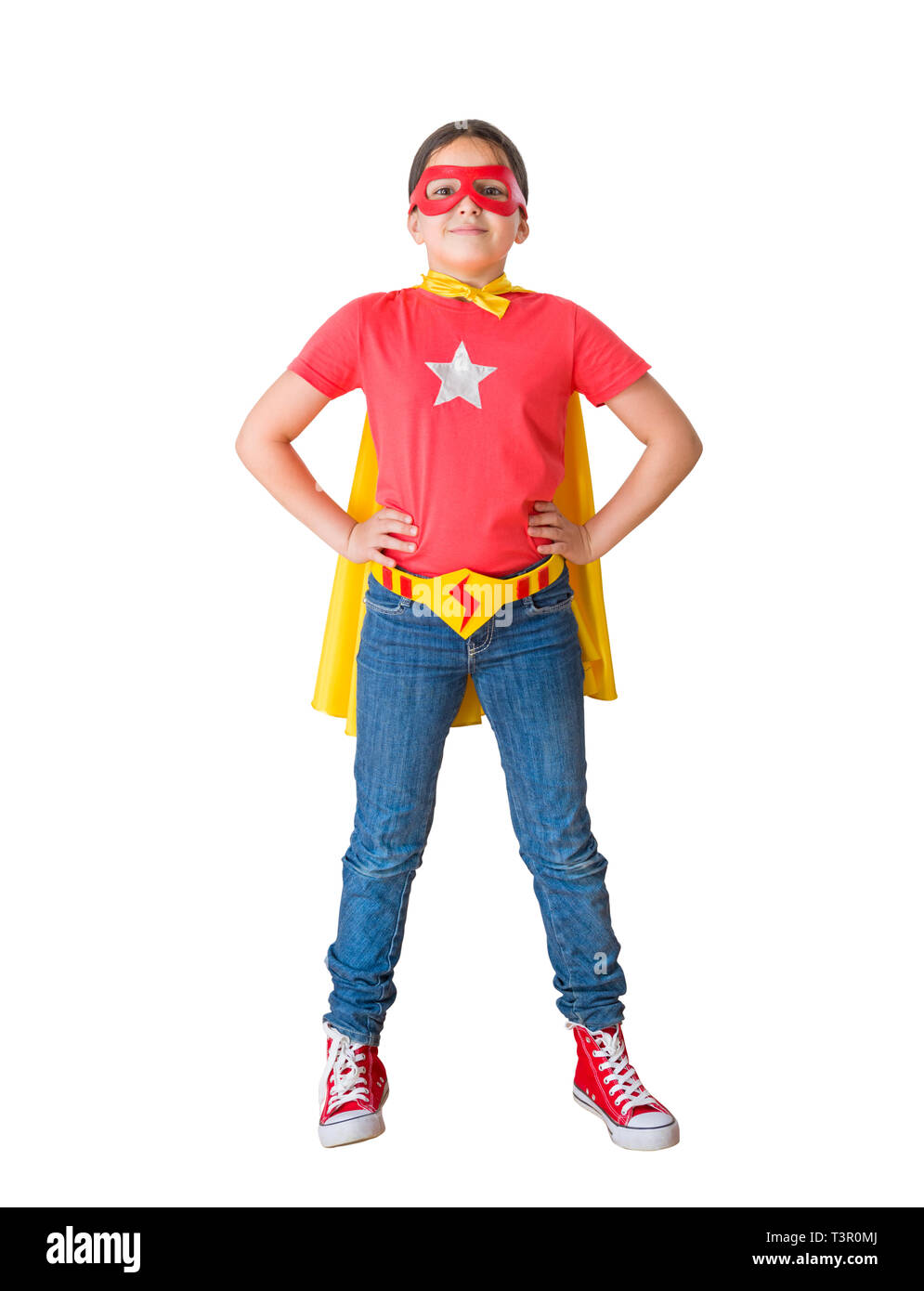 child acting like a super hero - Stock Image