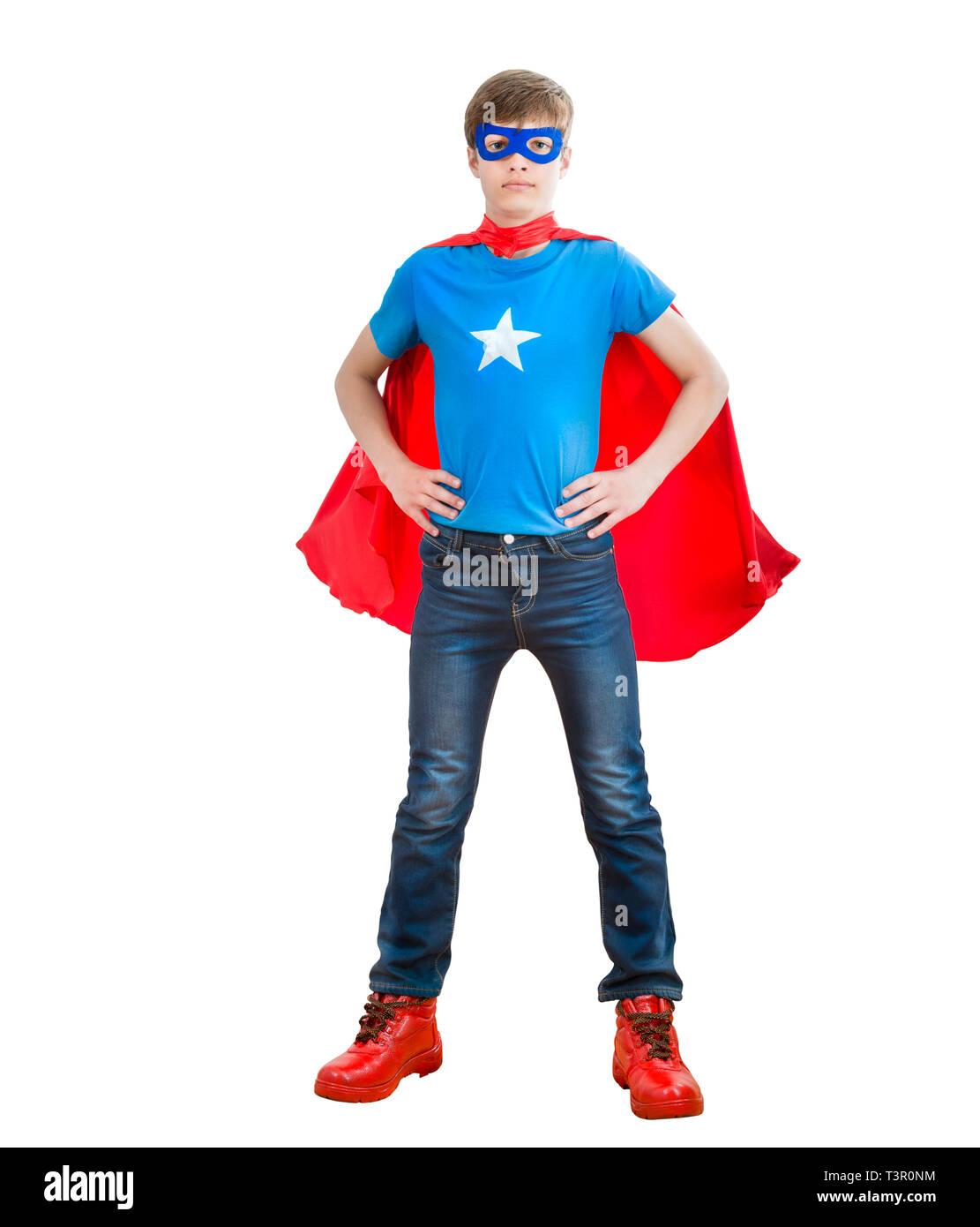 boy acting like a super hero - Stock Image