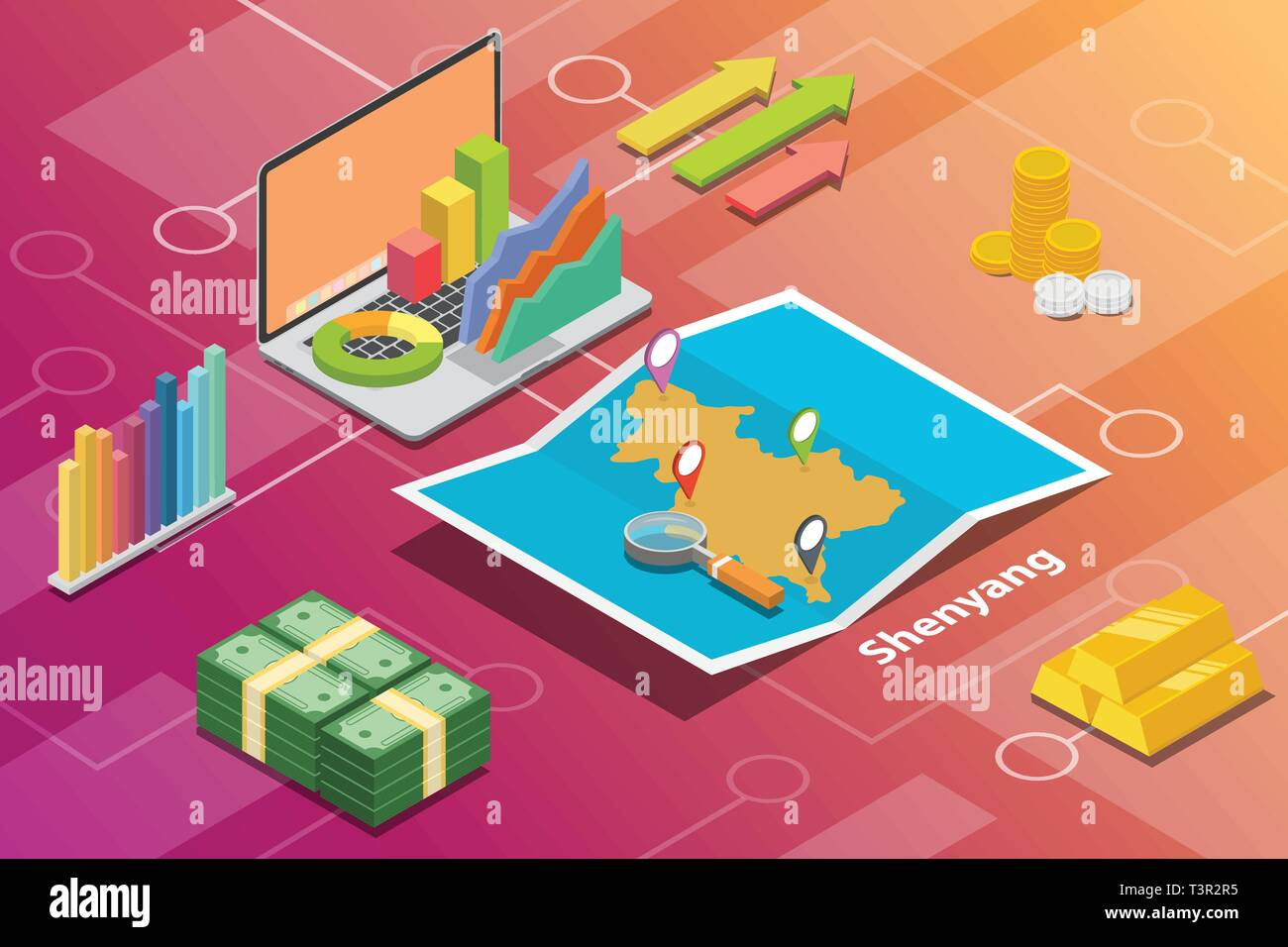 shenyang northeast liaoning city isometric financial economy condition concept for describe cities growth expand - vector - Stock Vector
